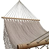 American Deluxe Style Cotton Handmade Hammock with Hardwood Spreader Bar and crochet Border by Mayan Artisans. Soft, Comfortable and Best Quality, Mexican Neutral Color Single Size, High Capacity