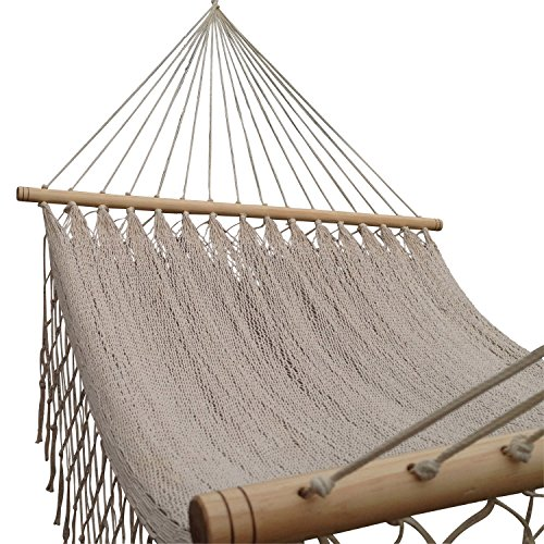 American Deluxe Style Cotton Handmade Hammock with Hardwood Spreader Bar and crochet Border by Mayan Artisans. Soft, Comfortable and Best Quality, Mex…