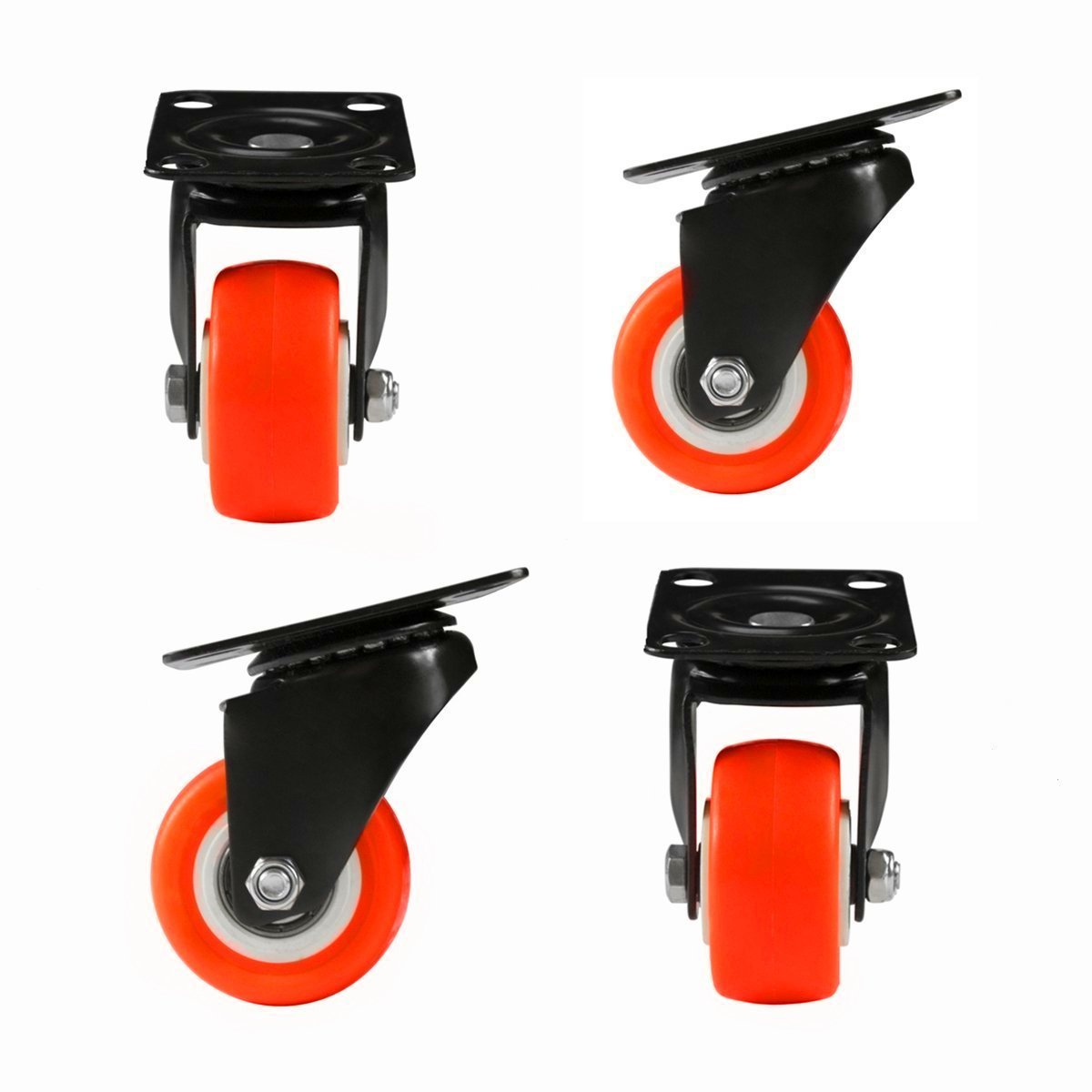 Non Brake/_Orange OMOO 8T8 1.5inch Replacement Top Plate Swivel Caster Wheels 4 Pack Rubber Base Heavy Duty 440lb for Furniture Removable Carts Stools Tables etc