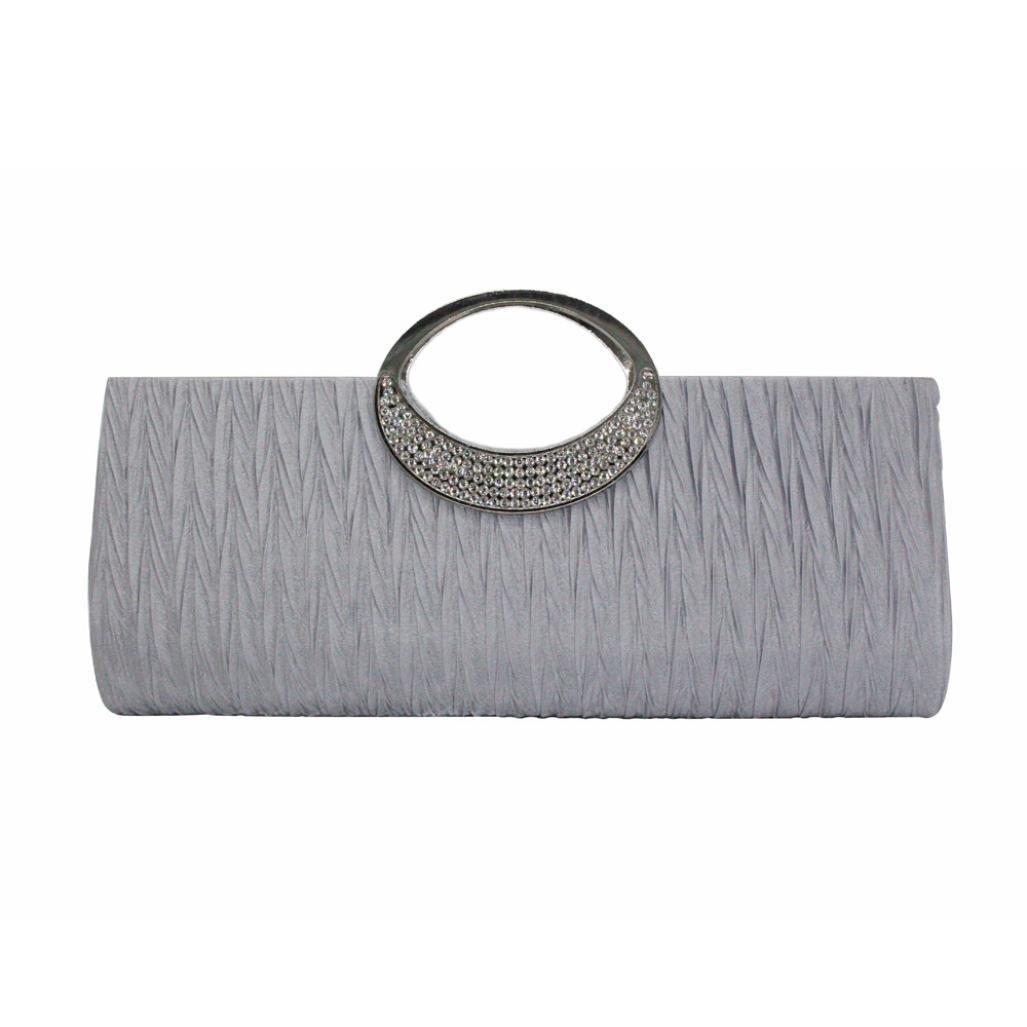 YJYdada Women Elegant Evening Wedding Purse Clutch Rhinestone Satin Pleated Handbag (Sliver)