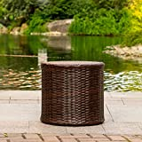 Sundale Outdoor Patio Garden Brown Wicker Barrel Side Table