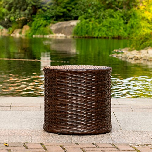 Sundale Outdoor Patio Garden Brown Wicker Barrel Side Table by Sundale Outdoor