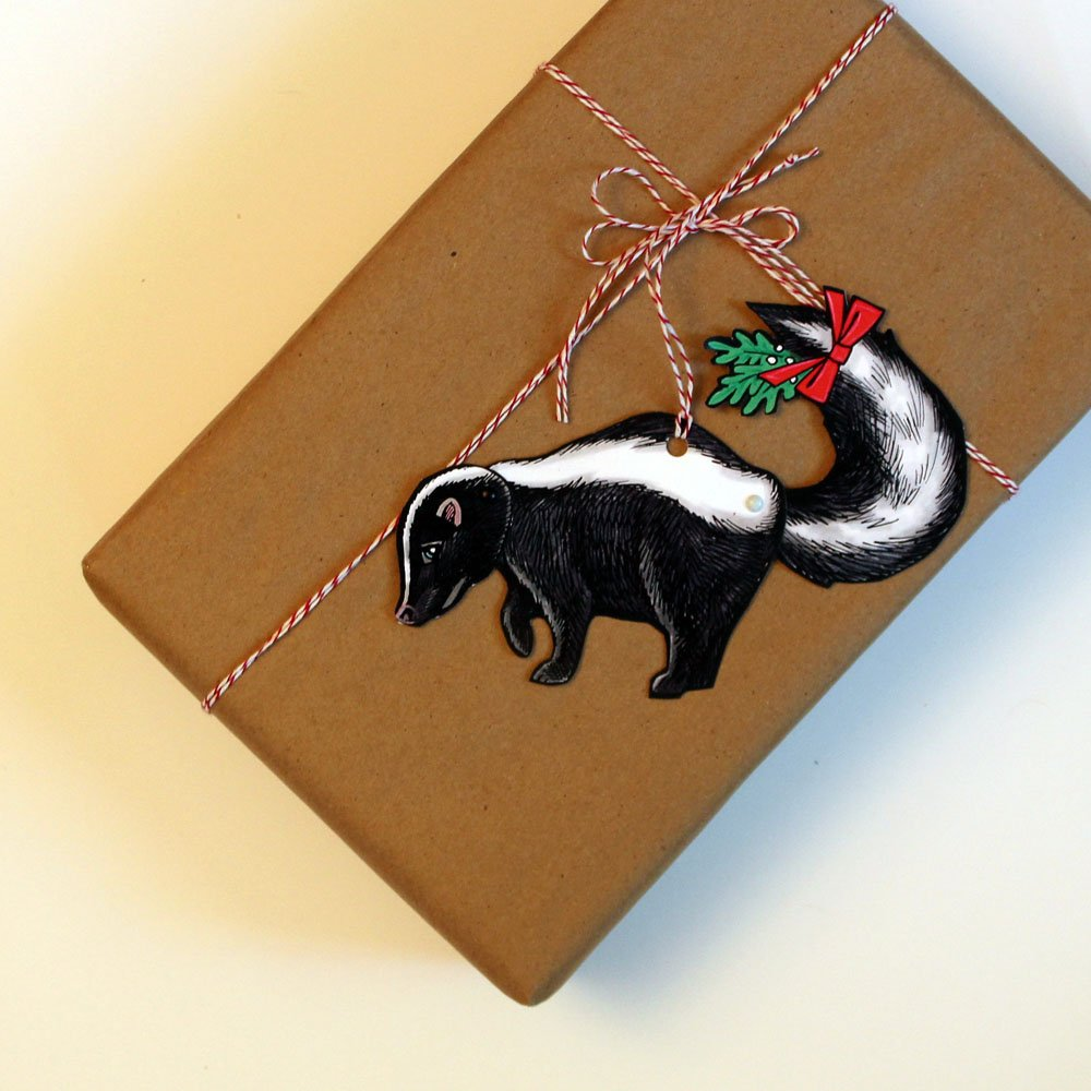 Mini Woodland Animal Paper Doll Skunk with Mistletoe Jointed Gift Tag or Christmas Ornament
