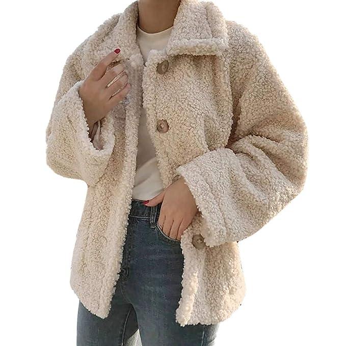 Abrigo de Invierno Mujeres, LANSKIRT Mujer Color Sólido Caliente Abrigo de Lana Artificial Botón Bolsillo