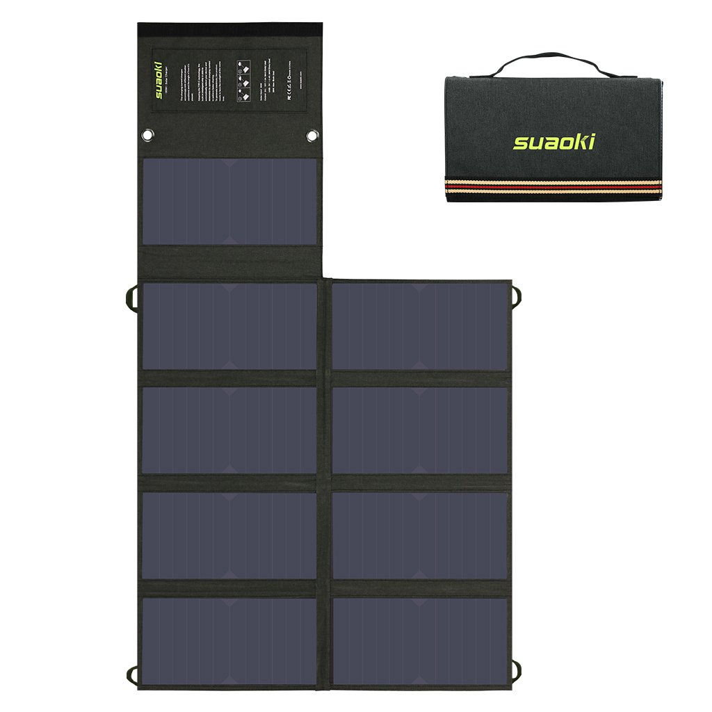 Suaoki 60W Solar Charger (5V USB + 18V DC) Dual Output Sunpower Mono-Crystalline Portable Folding Solar Panel with Battery Clamps and Car Charger for Laptop Tablet GPS Cellphone Car