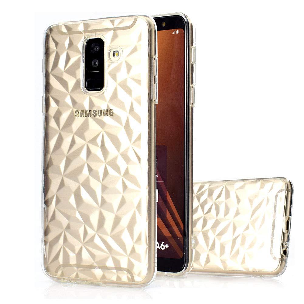 Moiky Coque Housse pour Galaxy A6 2018,Soft Silicone É tui Case pour Galaxy A6 2018, É lé gant Mignonne Rose 3D Diamant Motif Cristal Flexible Souple TPU Gel Coque + 1 x Protecteur d'é cran Samsung Galaxy A6 2018