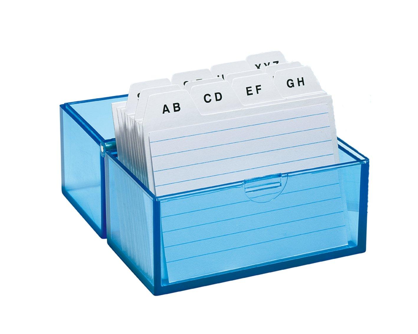 Wedo 2508303 Scatola per archivio in formato A8, con 100 schede, in plastica, 150 pagine, colore: bianco/a/transparentblau Werner Dorsch GmbH