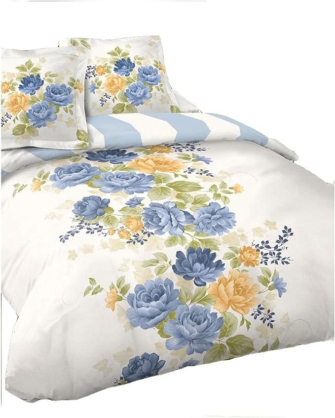 Funda nórdica de 220 x 240 cm y 2 fundas 100% algodón blanco flores azules y amarillas: Amazon.es: Hogar