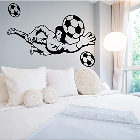 ideas de dormitorio con temática de fútbol Sprots Football Player Pegatinas De Pared Decoracin De