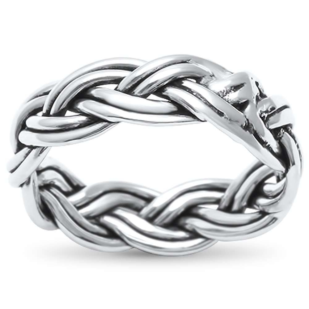 Plain Celtic Bali Knot Band .925 Sterling Silver Ring Sizes 5-8