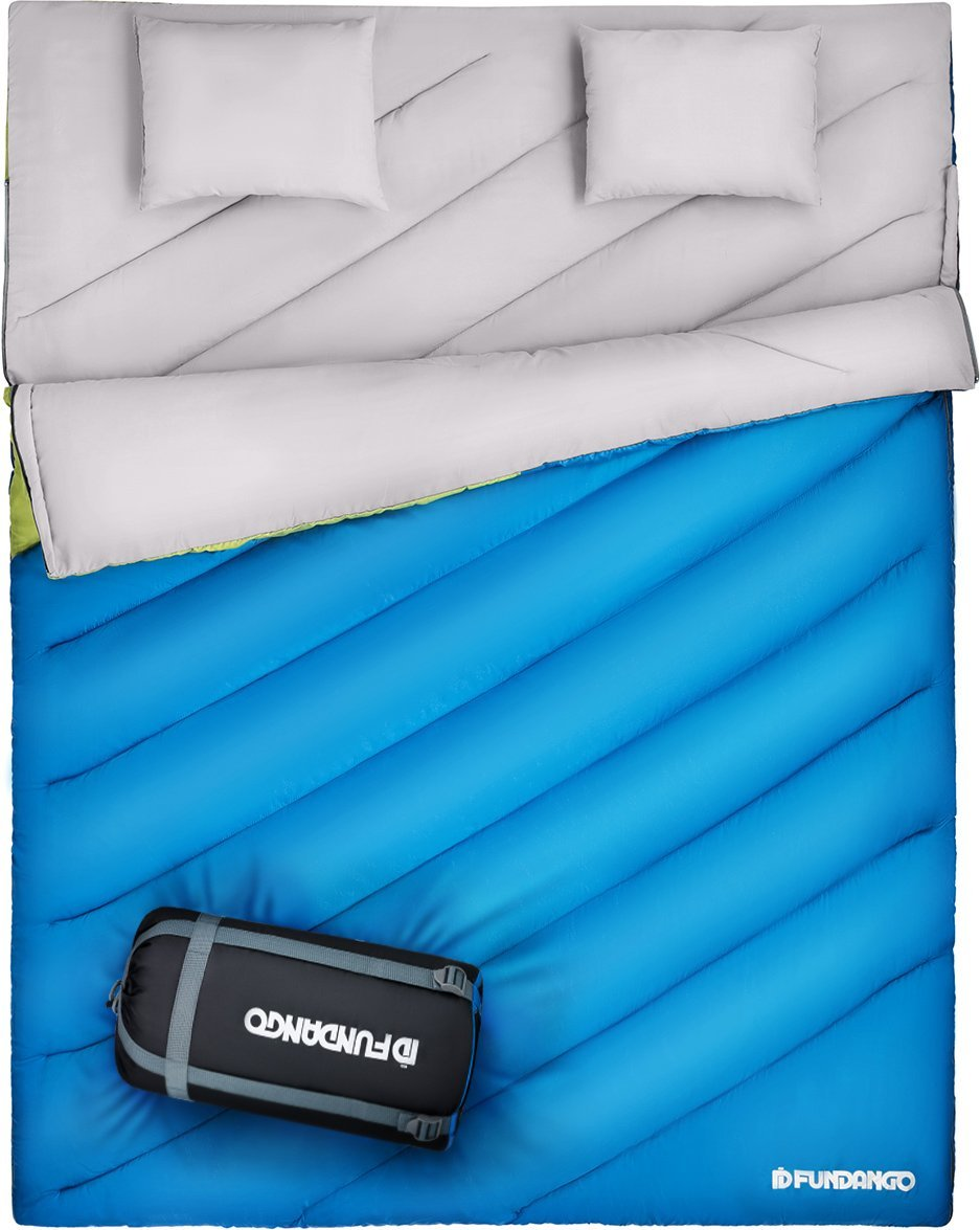 FUNDANGO Double Sleeping Bag For Person Backpacking, Camping, Or Hiking. King Size XL! All Weather Sleeping Bag 3-4 Person Waterproof For Adults