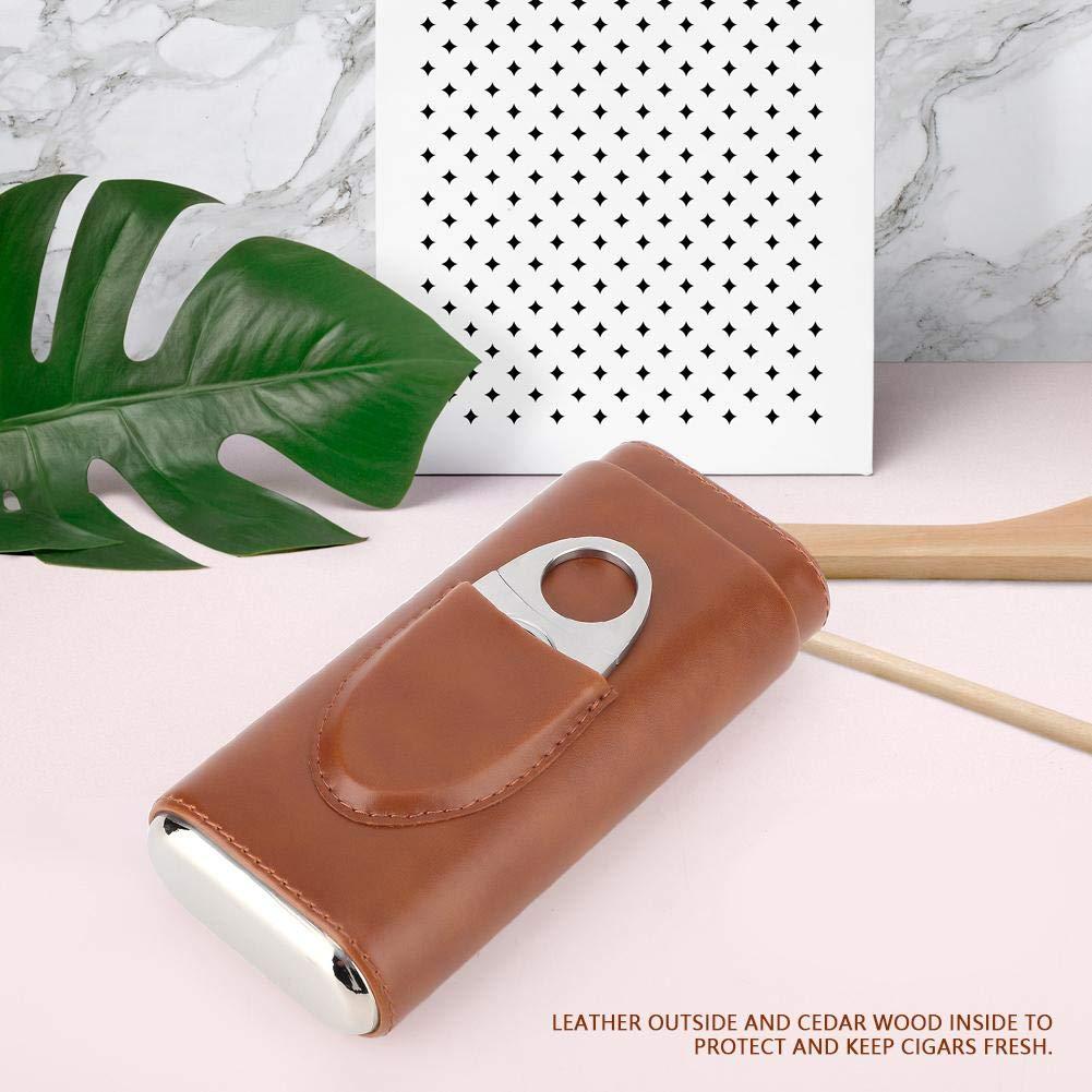 pour 3 cigares Mootea /Étui /à cigares en Cuir Portable Humidor /à cigares avec Coupe en Bois de c/èdre