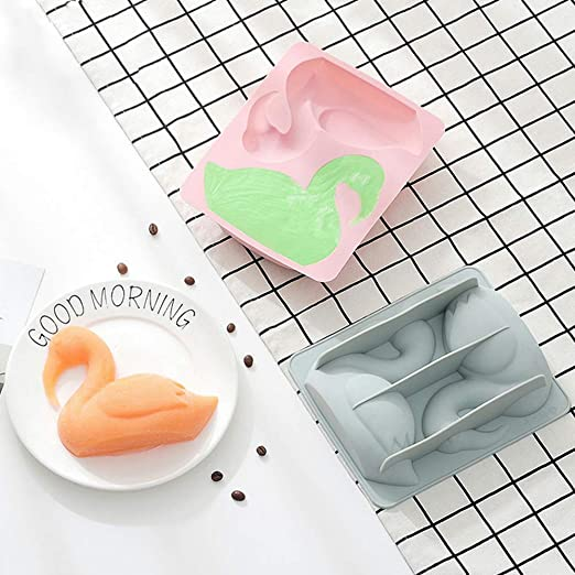 blau Beito 1PC Flamingo-Kuchen-Form Silikon-Karikatur Bakeware Hitzebest/ändige Dessert Backform DIY Schokolade-EIS-Form