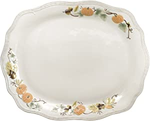 Pfaltzgraff Plymouth Turkey Platter, white, brown, 21 x 17 inches