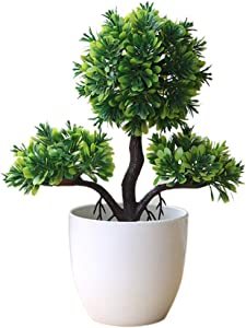 heaven2017 Guest-Greeting Pine Simulated Potted Plant Fake Bonsai Home Office Desk Decor Green
