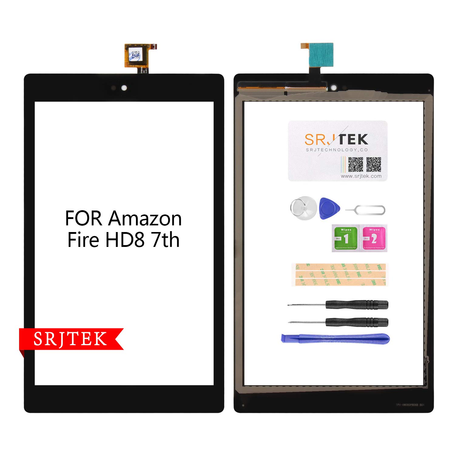 for Amazon Kindle Fire HD8 7th Gen 2017 Release SX034QT Touch Screen Digitizer Glass Replacement Black