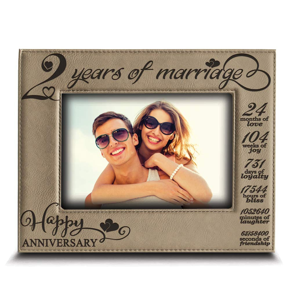 2 Years Anniversary BELLA BUSTA 4x 6 Horizontal Second 2nd Anniversary Picture Frame Engraved Leather Picture Frame for Couple