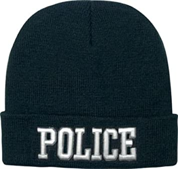 Police Officer Acrylic Knit Winter Warm Watch Cap Hat Skull Cap Beanie Black   Amazon.co.uk  Sports   Outdoors 2db2c42922a7