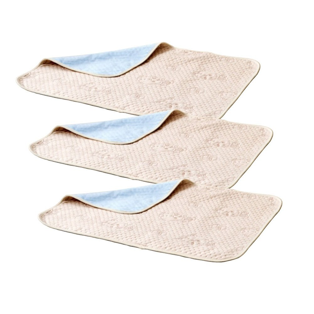 Interbusiness Pack of 3 Washable Underpads Natural Colored Cotton Sheet for Baby and Incontinence (19.7'' x 27.6'')