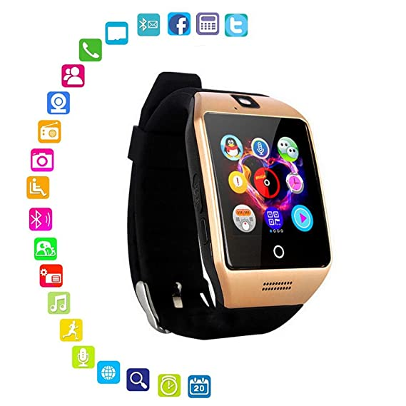 Layopo Smart Watch with Camera, Q18 Bluetooth Smartwatch Waterproof Sport Smart Fitness Tracker Wrist Watch with SIM Card Slot Camera Pedometer for ...