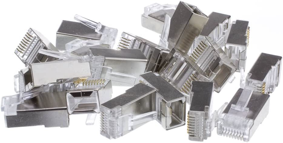 50 Pieces GOWOS Shielded Cat5e RJ45 Crimp Connectors for Solid and Stranded Cable 8P8C
