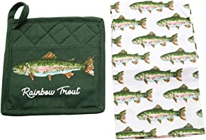DEI Trout Dish towel and pot holder, 2 piece Set, Mulitcolor