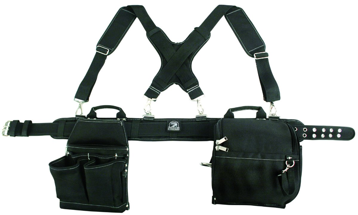 Super Duty Contractor's Rig w/ Pro-comfort Padding. Contractor Pro Gatorback. Comfort Ventilated Padded Belt One Size Fits All, Suspenders Carry Handles and Zip up Pouch. Heavy Duty Tool Apron
