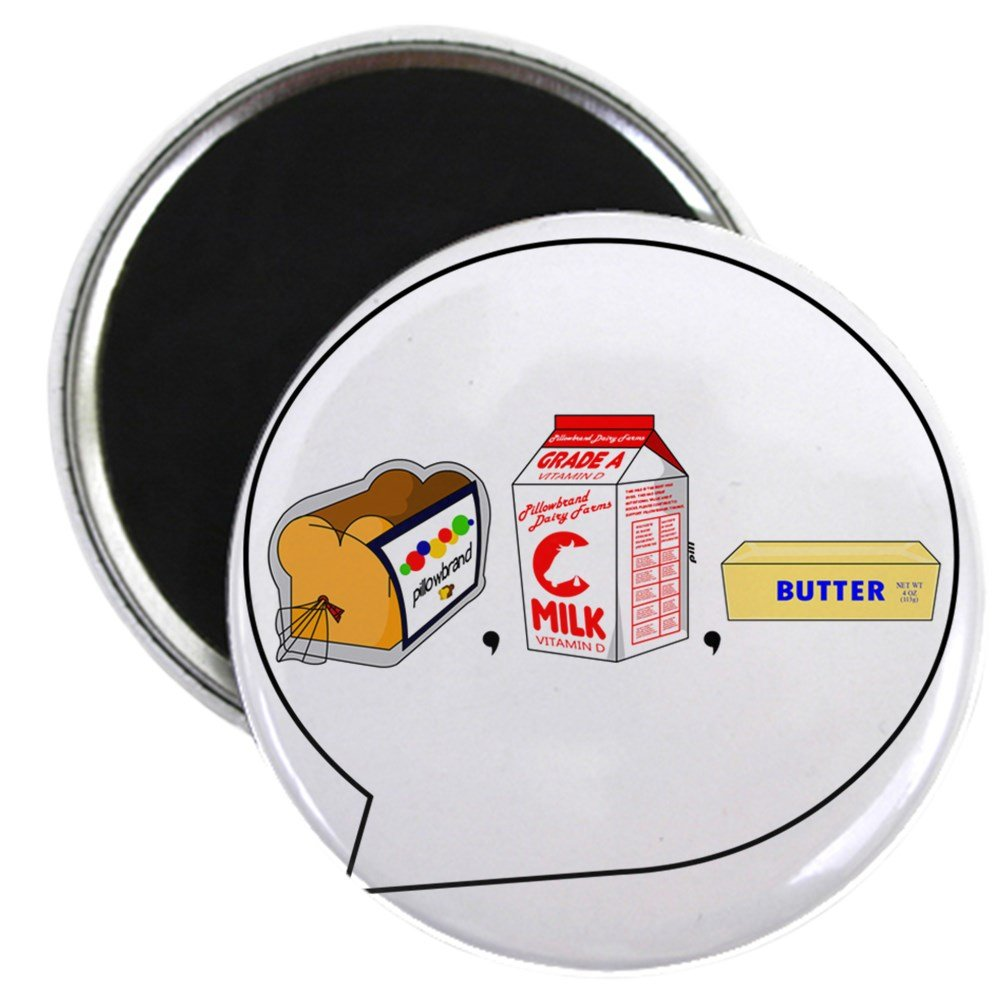 """CafePress - Loaf Of Bread, Container Of Milk, Etc PNG - 2.25"""" Round Magnet, Refrigerator Magnet, Button Magnet Style"""
