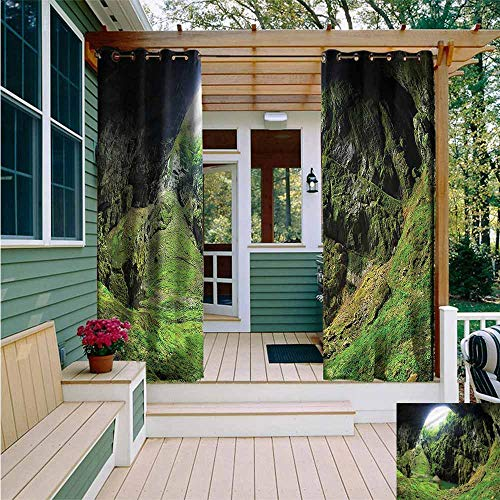 Beihai1Sun Outdoor Curtains,Natural Cave Punkevni Cave in Czech,for Patio/Front Porch,W108x96L