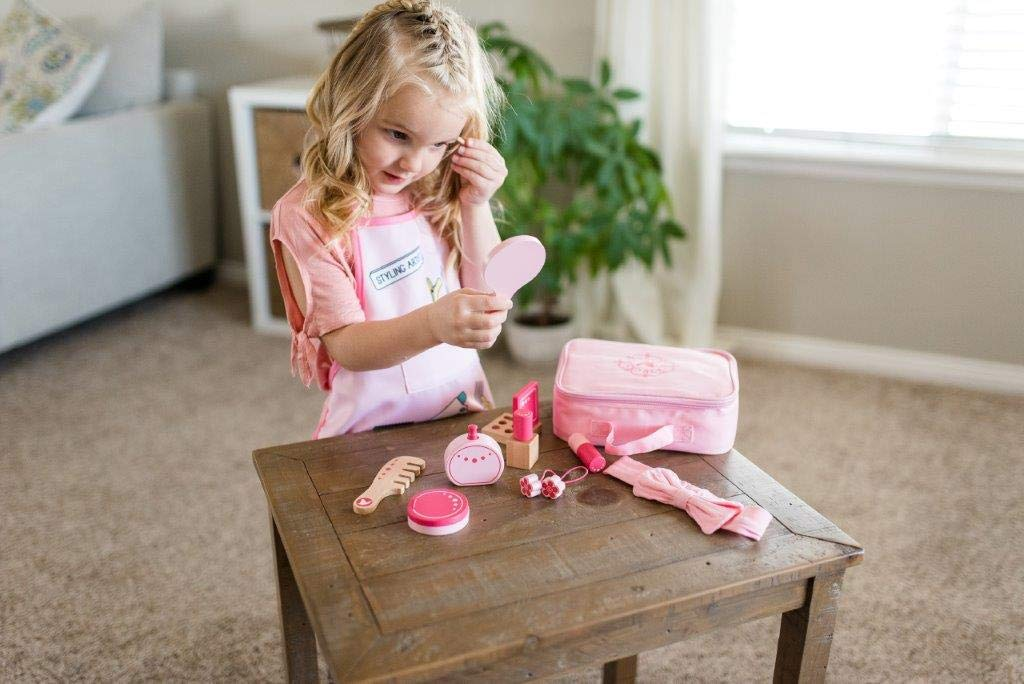 Little Adventures Little Beauty Salon Beautician Wooden Toy Set with Carrying Case Pink by Little Adventures (Image #5)