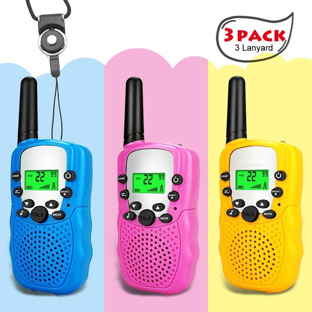 Amazon.es: Moglor Walkie Talkie Niños 3 Pack, 22 Canales LCD Pantalla VOX Larga Distancia 3KM Walkie Talkie, Linterna Incorporado Juguete Regalo para Niños