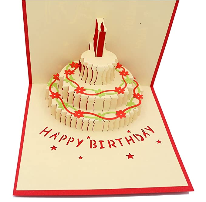 Amazon IShareCards Handmade 3D Pop Up Birthday Cards Creative Greeting Papercraft 90 Happy Cake Office Products