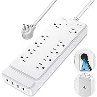 Regleta de alimentación, protector contra sobretensiones con 10 tomas de CA y 4 puertos de carga USB, cable de extensión…