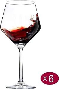 Wine Glasses, Large Bowl, Lead-Free Crystal, Thin Rim, Long Stem, Burgundy, 23-Ounces, Set of 6