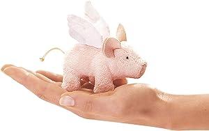 Folkmanis Mini Winged Piglet Finger Puppet, Multi-Colored, 1 EA