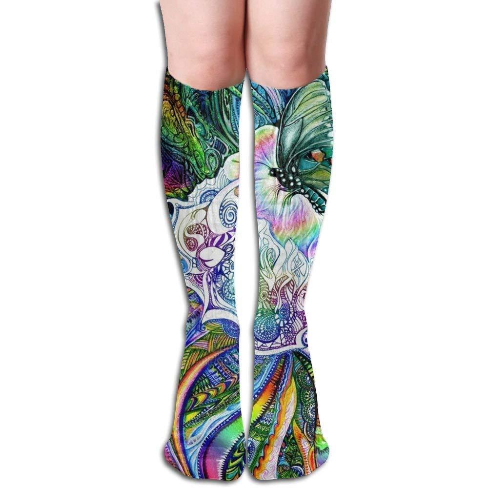 Butterfly Painting Art Girl Over-Knee Socks High Fitness Novelty Stockings Stylish Design50cm Fond dream