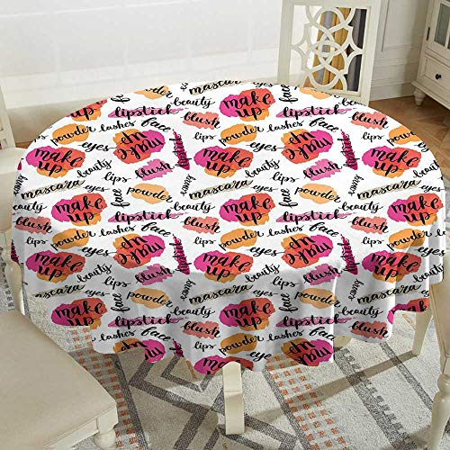 polyester round tablecloth 70 Inch Fashion,Trendy Woman Make Up Elements with Calligraphy Blush Lipstick Powder Beauty Pattern,Multicolor Suitable for Party,outdoors,Farmhouse,coffee shop,restaurant M