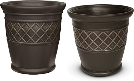 61EMlS6oAtL. AC SX466  - Better Homes And Gardens 18 Weathered Lattice Planter Chocolate