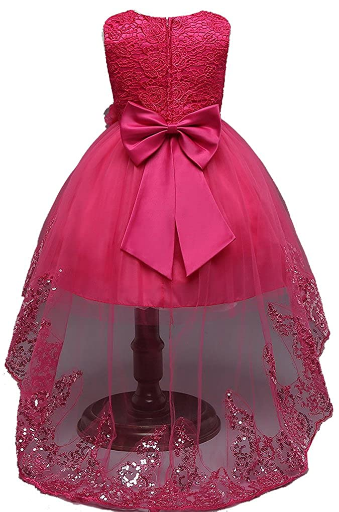 Shiny Toddler Little/Big Girls Crochet Bridesmaid Flower Girl Birthday Party Dress