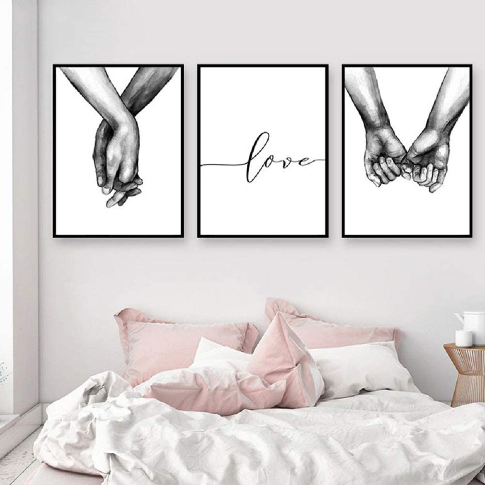 HERRA Wall Art Minimalist Painting Black and White Canvas Line Art Print Poster Love Hand in Hand Lover Sketch Art Line Paintings Picture Mural for Bedroom Living Room(Set of 3 Unframed) (12x16 inches)