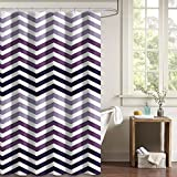 DII Oceanique Shower Curtain 100% Polyester, Machine Washable, for Everyday Use, Kids, Teens, Extra Bathroom, Main Bathroom 72x72'' , Eggplant Ombre Chevron