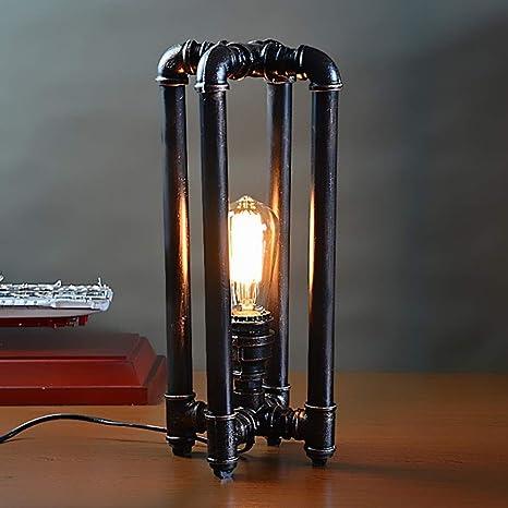 Vintage Steampunk Lámpara de mesa Retro óxido de hierro ...
