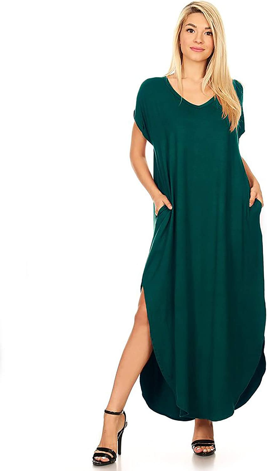 Women's Solid Casual Short Sleeve V-Neck Oversize Pocket Maxi Dress/Made in USA