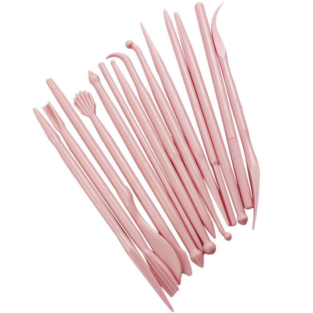 E-dance 14Pcs Plastic Clay Sculpting Wax Carving Pottery Tools Carving Sculpture Shaper Polymer Cake Modeling Tools Rose Red