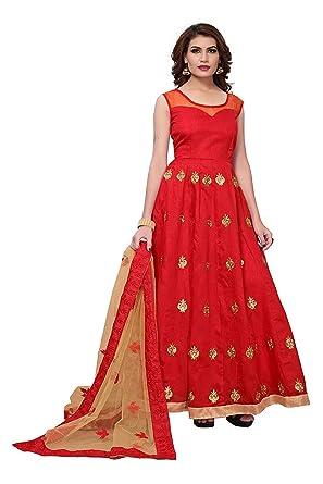 Dubai Creation Women S Dress Material Hinakhan Redd Red Free Size