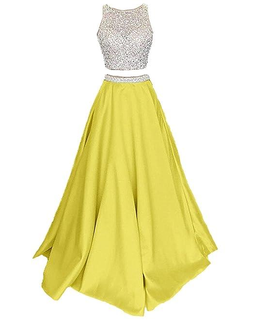 Callmelady Satín Dos Piezas Vestidos de Fiesta Vestidos de Noche Largos para Mujer (Amarillo,