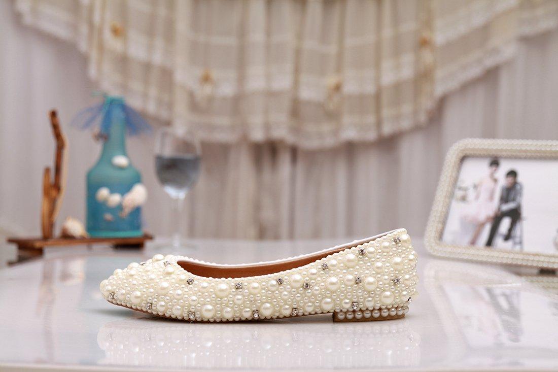 Minishion MZLL030 Women's Fashion Comfortable Handmade Pearl Ivory Satin Wedding Party Evening Prom Flats 7.5 M US by Minishion (Image #4)