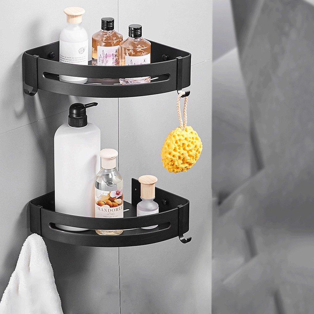 YXN Space Aluminum Bathroom Corner Rack Bathroom Hardware Accessories Single-layer Cosmetics Tripod Black Shelf Storage Rack (Size : Two layers)