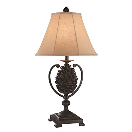 Stein World Furniture Big Sur Pine Cone Rustic Iron Lamp, Painted Brown