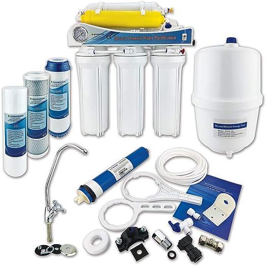 Finerfilters - Sistema de ósmosis inversa de 6 etapas con eliminación de flúor (50 GPD), para beber la mejor agua potable: Amazon.es: Hogar